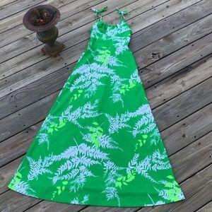 Vintage Tropicana Hawaii Maxi Dress Green Floral S
